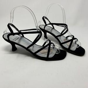 Stuart Weitzman Black Strappy Kitten Heel Sandals